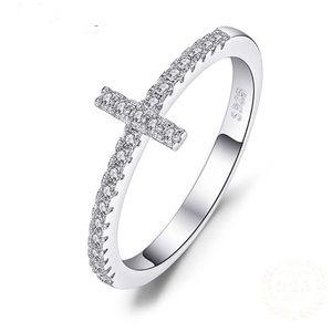 925 sterling silver CZ cross design ring